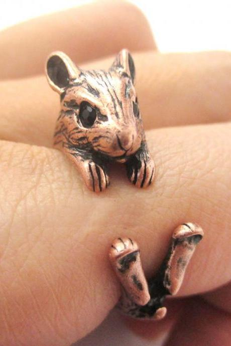 3D Miniature Guinea Pig Hamster Animal Wrap Hug Ring in Copper - US Size 4 to 8.5