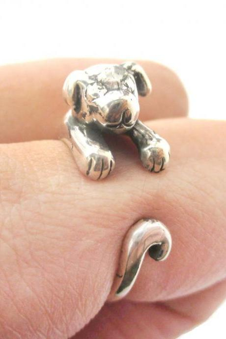 Realistic Puppy Dog Animal Wrap Around Hug Ring in Solid 925 Sterling Silver - US Sizes 4 to 8.5 Available