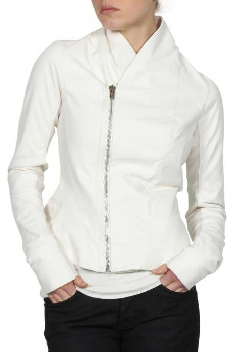 WOMEN'S LEATHER JACKET, WHITE COLOR JACKET WOMEN, SHAWL COLLAR LEATHER JACKET