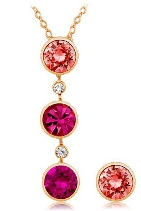NEOGLORY Pink Crystal Decorated Alloy Necklace & Earrings