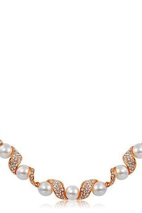 Rigant Crystal & Pearl Decorated Alloy Necklace (Rose Gold)