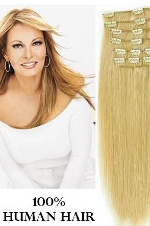 22 inches (55.8 cm) 7 Piece High Quality Remy Clip In 100% Real Human Hair Extensions Light Ash Blonde