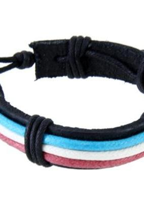 Faux Leather Bracelet Blue + White + Red