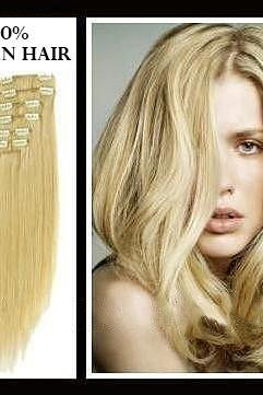 16 inches (40.6 cm) 7 Piece High Quality Remy Clip In 100% Real Human Hair Extensions Medium Blonde