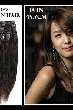 18 inches (45.7 cm) 7 Piece High Quality Remy Clip In 100% Real Human Hair Extensions Chocolate Brown