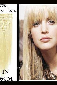 16 inches (40.6 cm) 7 Piece High Quality Remy Clip In 100% Real Human Hair Extensions Platinum Blonde