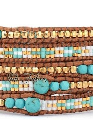 Mosaic of Tunis Beaded Leather Wrap Bracelet - Artisan Boho (also available in single wrap)