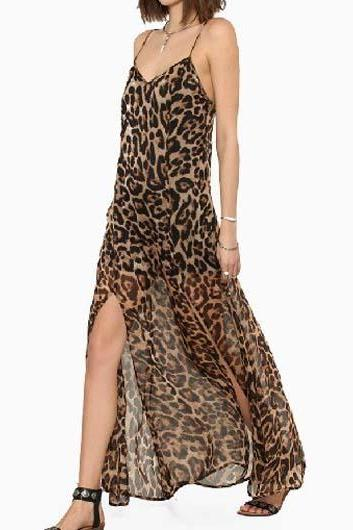 Sexy Leopard Strap Design Open Back Ankle Length Dress
