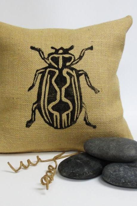 Burlap Pillow with Insect Block Print Design