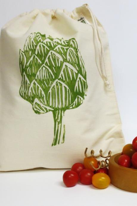 Artichoke Block Print Produce Bag