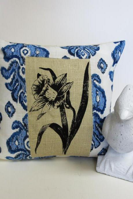 Blue Ikat Pillow Cover with Daffodil Screen Print on Burlap