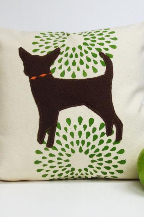 Hand Printed Pillow Cover with Felt Chihuahua Pillow