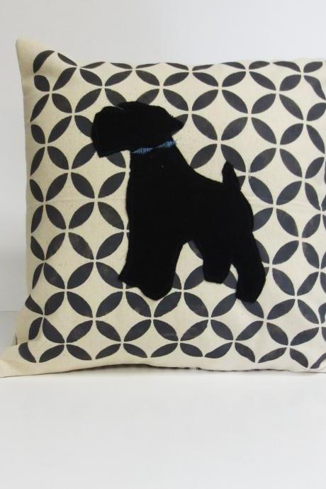 hand printed pillow cover with felt schnauzer applique