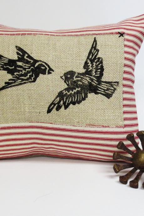 Ticking Stripe Pillow with Flying Love Birds Your Choice of Ticking Stripe