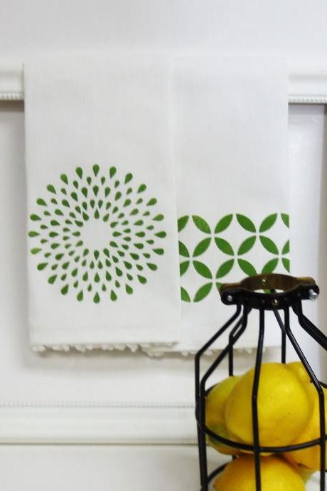 Pair of Printed Geometric Tea Towels with White Pom Pom Trim Your Choice of print color