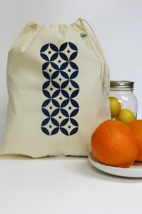 Organic Cotton Produce Bag Hand Printed Navy Blue Geometric Design