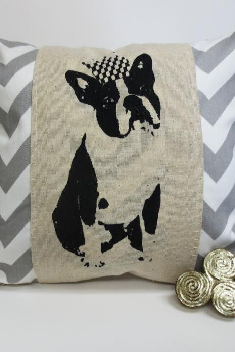 Decorative Chevron Pillow with Boston or French Bulldog Screen Print