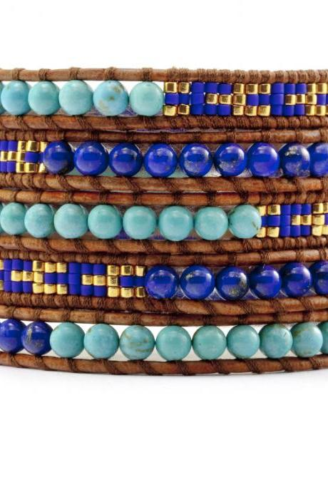 Blue Lapis Lazuli with Mixed Seed Beaded Wrap Bracelet - Artisan Bohemian Chic Style