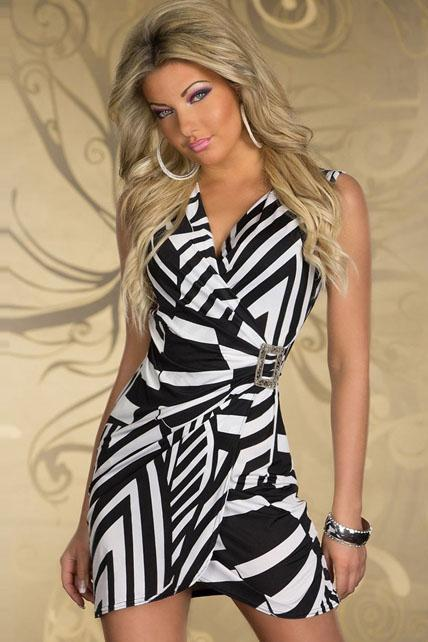 Hot Sale Black and White Stripes Wrap Dress