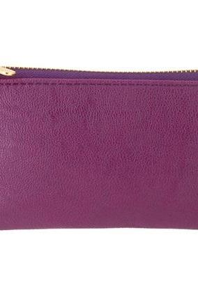 Litchi Pattern PU Leather Purse (Purple)