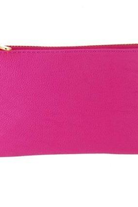 Litchi Pattern PU Leather Purse (Pink)