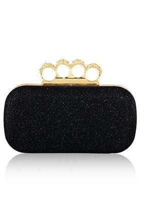 Women's Stylish Clutch with Rhinestone Ring Handle