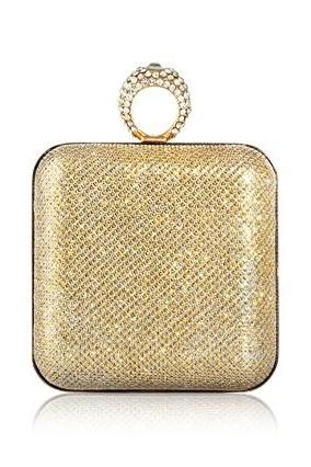 Women's Shimmering Clutch & Shoulder Bag with Rhinestone Ring Handle
