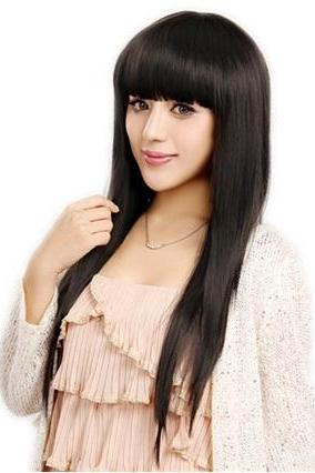 Capless Synthetic Black Long Straight Hair Wig (Black)