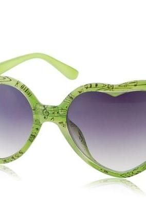 Women's Heart Shaped Frame UV Protection Glasses Sunglasses (Green)