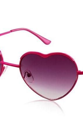 Kadishu 3031 Heart Shaped Fashionable Sunglasses with Plastic Frame & Lens (Rose Red)