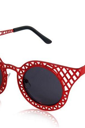 Kadishu 3035 Fashionable Unisex UV Protection Sunglasses with Cut-out Frame (Red)