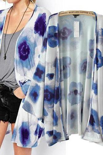 New Style Long Sleeves Floral Print Blue Cotton Blends Blouse