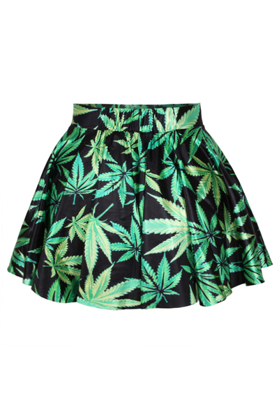 Fashion Leaves Print Green Spandex Pleated Mini Skirts