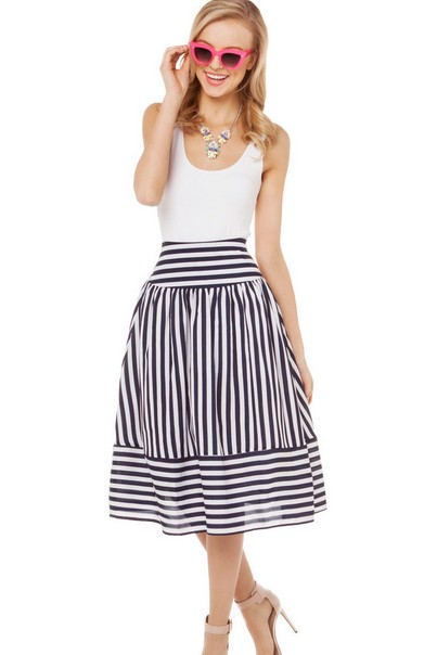 Fashion Striped A Line Mid Calf Black White Chiffon Skirt