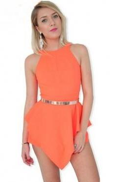 Sexy O Neck Tank Sleeveless Back Cut-out Asymmetrical Solid Orange Polyester Mini Dress