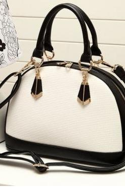 Fashion Patchwork Zipper White PU Clutches Bag