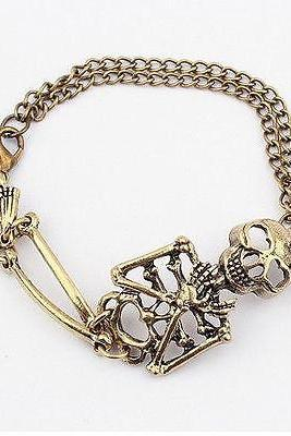 nice Vintage alloy Rock Gothic Punk Double Skeleton Skull Bangle charm Bracelet