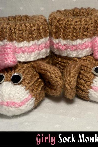 Girly Sock Monkey Baby Booties Knitting Pattern