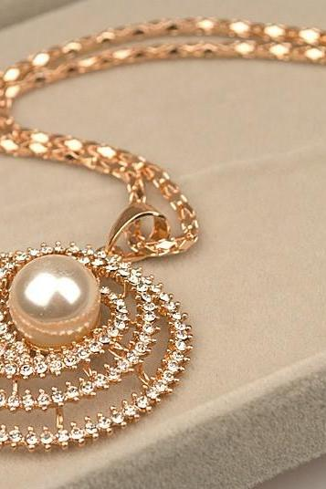 * FREE SHIP * New Arrival Free Shipping Big Fashion 14K Gold Plated Rhinestone Long Pearl Necklace [3263-A02]