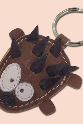 Sweet little Hedgehog leather animal keychain