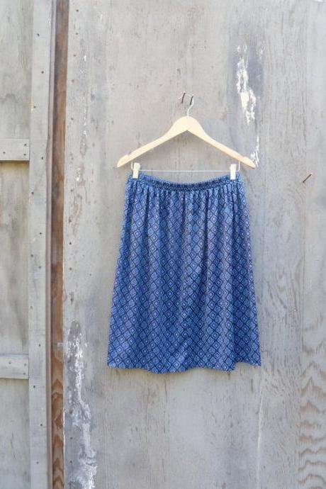 1970s Printed Skirt Blue and Black