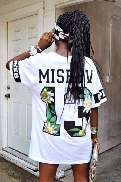 Fashion O Neck Short Sleeve Letter White Cotton T-Shirt