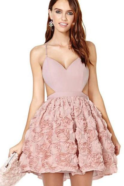 Women's New Pink Chiffon Sleeveless Dress