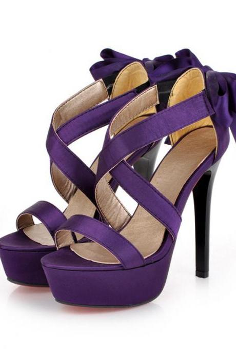 Sexy Back Bow knot Design High Heel Fashion Sandals in Purple and Black