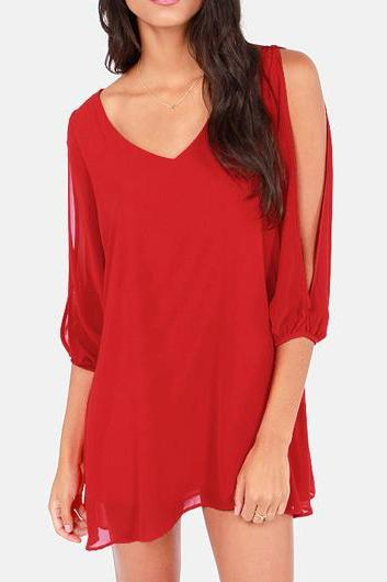 Sexy V Neck Woman Chiffon Dress - Red