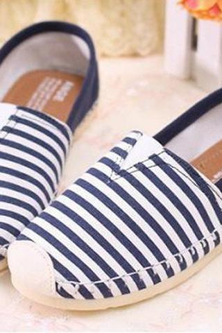Trendy Blue Canvas Loafers Striped