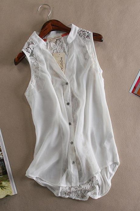 FASHION CHIFFON SLEEVELESS VEST SHIRT