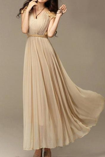 Classic Beautiful Cap Sleeve V Neck Chiffon Dress - Khaki