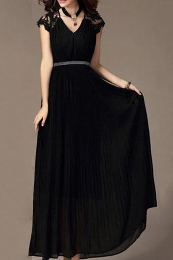Classic Beautiful Cap Sleeve V Neck Chiffon Dress - Black