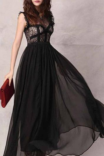 Elegant Solid Black Round Neck Chiffon Maxi Dress